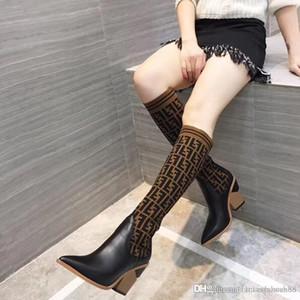 Дорогих 2020 новых женщин моды 19 дюймов вязание носок сапоги Остроконечные Коренастый пята 9.5cm женские бедра высокие сапоги дышащий пружинные