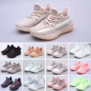 Adidas Yeezy 350 V2 Лучшие качества Дети кроссовки желтый основной темнокожих детей спортивная обувь кроссовки ребенка для подарка на день рождения Размер EUR 24-35