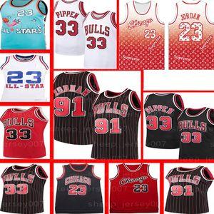 Retro 23 Michael Basketball Bull Jersey Scottie Pippen 33 Dennis Rodman 91 NCAA Jersey GRÖSSE S-XXL