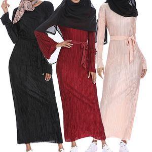 Мусульманин морщинистой юбка-карандаш Макси платье Труба рукава Абая Длинные Одеяния мундир Ближний Восток Рамазан Араб Исламская одежда