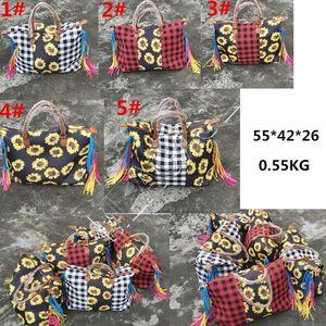 Женщины Подсолнечное плед Большой сумка Лоскутная Клетчатые сумки конструктора ручки Винтажная сумка плеча путешествий Duffle Weekender Bag D81904