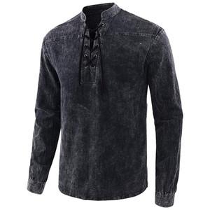Designer camice maglietta a maniche lunghe da uomo traspirante superdotati parti superiori casuali spting autunno Mens # 781