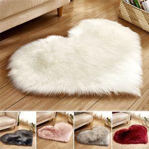 Fluffy Rugs Anti-Skid Shaggy Area Rug Solid Color Heart Shape Home Living Room Bedroom Floor Mat Carpet Soft Faux Fur Floor Mat