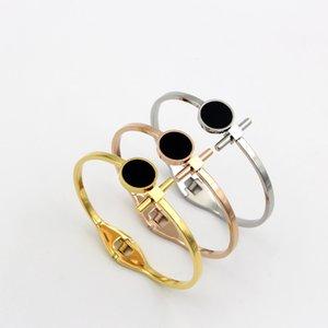 팔찌 패션 스테인레스 스틸 로즈 골드 컬러 블랙 라운드 T 팔찌 여자 파티 선물