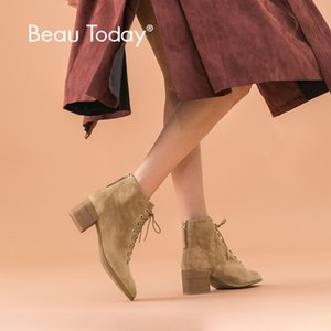 BeauToday Ankle Boots Women Kid Suede Leather Round Toe Lace-Up High Heel Boots Autumn Winter Ladies Shoes Handmade 03361