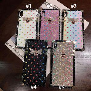 Para iPhone 12 Pro Max 11 Pro XS XR X 7 8 Plus Luxury Designer Mulheres Defensor Phone Case Glitter Love Fashion Isca de Diamante Caso