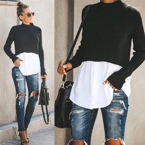Sexy Womens Pullover otoño Ropa de diseño con paneles de moda suéteres de cuello redondo con el botón Tops Mujer