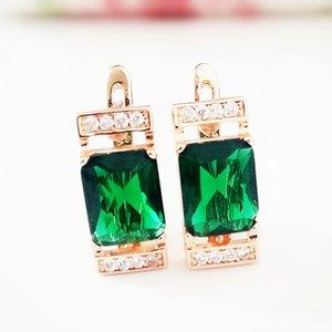 585 Rose Gold Earring Fashion Jewelry Green Stone Luxury Earring Vintage Women Earrings Drop