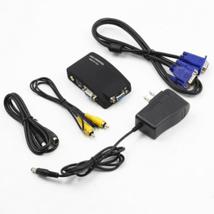 by dhl or ems 20pcs PC Laptop Composite Video TV RCA S-Video AV To VGA LCD Out Converter Adapter Switch Box
