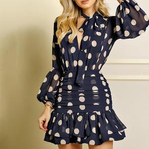 Polka Dot Impresso elegante Hip Mini vestido Mulheres Puff luva Ruffled Package Vestidos fêmeas 2020 Verão Outono adiantado Senhora Roupa