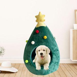 Atmungsaktiv Hund Katze Schlafen Nest faltbare Welpen Kitten Warm Schöne Bett waschbare Haustier-weiche Weihnachtsbaum Form PP Cotton House