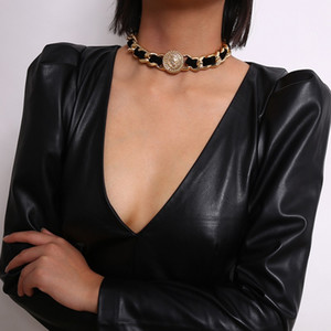 Exaggerated Hip Hop Twist Chain Choker Necklace Women Collares Rock Velvet Coin Chunky Chokers Necklace Steampunk Men Statement Jewelry