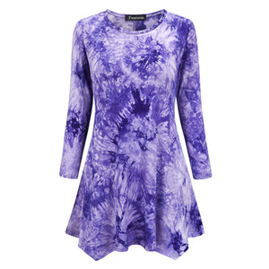 2020 Womens Tie Dye Print T-Shirt Dresses 3 4 Long Sleeve Tunic Loose Fit Swing Flare T-Shirts For Women Tops