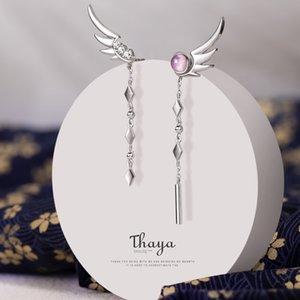 Thaya Püskül Gerçek 925 Gümüş Küpe Dangle Tüy Küpe Yüksek Kaliteli Japon Şık İçin Kadın Güzel Jewely