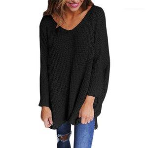 Frauen Split V-Ausschnitt Pullover Pullover Langarm-Fest Farbe lose Frühling Herbst Famale Sweater