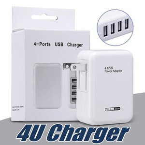 Fast Speed 4 Ports USB Wall Home Travel Charger AC Power Adapter with Folding Plug For Universal Smartphones with Retail Package