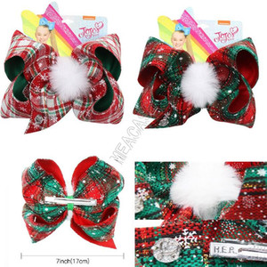 7inch JOJO Siwa Noël Hairpin Bébés filles Plaid Big Bows pince à cheveux bowknot fourrure boule Pins cheveux Bobby Pin Barrettes enfants Barrettes D92201