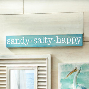 US Instock Sandy Salty Happy Aqua Blue Teal Creative Wood Plaque Seaside Sign Friendship Home Hanging Decor Plaque
