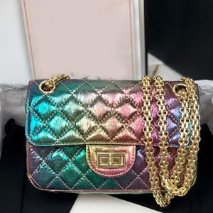 Moda borsa Borse a tracolla a catena Portafogli Chameleon Tromba Flap Bag Arcobaleno Gradiente Metallico pelle di pecora Texture donne di alta qualità