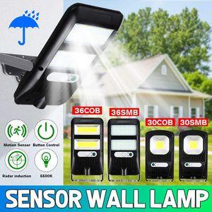 36LED COB Solar Luz Lâmpada de parede exterior Outdoor PIR sensor de movimento Poste impermeáveis Luzes Jardim Saving de emergência Para Path