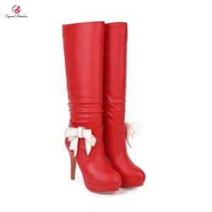 Mode Original Intention Knee High hiver Bottes femme Paillettes Big Bow Noeud haut Plateforme Bottes Chaussures Noir Blanc Rouge Femme