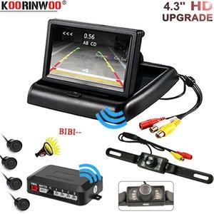 Koorinwoo Wireless Car Parking 4 Sensor Kit Buzzer Radar Indicator Probe System Foldable Monitor License plate Rear view camera