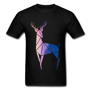 Heilige Geometrie T-Shirt Männer Helle Herr Sunset Deer Elk T-Shirt Männer-Kleidung 2020 100% Bio-Baumwolle Übergrößen T-Shirt Anime