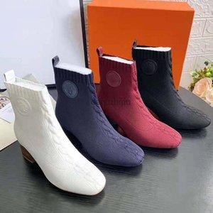 Örme Çorap patik Kadınlar Boots Kar Örme Kadınlar patik Casual Martin Boots Toptan Bayanlar Kış Boots topuk: 6.5cm c22