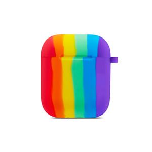 2020 neuer weicher Silikon-Kasten für Airpods 1 2 Pro Regenbogen-Farben-Kopfhörer-Ladebox Schutzabdeckung Wasserdichte Kopfhörer Zubehör