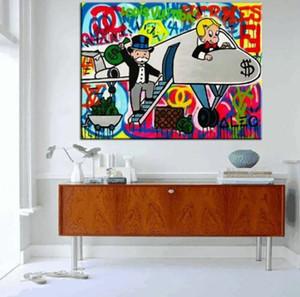 Alec Monopoly alta qualidade da arte Graffiti Wall Decor Avião Particular Home Decor pintura a óleo sobre tela Wall Art Canvas Pictures 200823