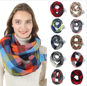 Pocket Scarves Hidden Zipper Red Plaid Pashmina Infinity Winter Warm Scarf Soft Outdoor Women Travel Scaves Cashmere Pashmina Wraps AAB1147