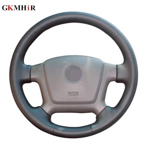 DIY Hand-stitched Black Artificial Leather Car Steering Wheel Cover for Kia Cerato 2005-2012 Spectra Spectra5 2004-2009