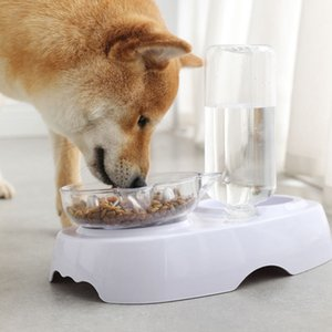 Cat Bowl Double Bowl Pet Cat Dog Food Basin Transparent Plastic Feeding Drinking Bowl with Water Bottle Cat Ears