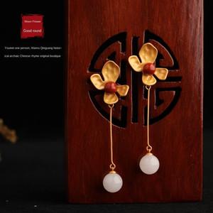 YMp79 adorno de viento frío 925 bañado en plata con incrustaciones de oro antiguo sur rojo y pendientes con el certificado Huamao Yueyuan jade de Hetian de car