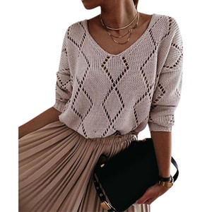Autumn Women's Sweater Knitwear Hollow out V neck Long Sleeve Loose Sweater Female Casual Pullovers Knitted Women Clothing