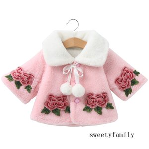 Children's Autumn Winter Cloak Retro Wool Shawls Girls Princess Dress Vintage Flower Accessorize Kid Jacket Pink Cape