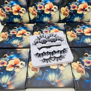 Handgemachte 5 Paar falsche Wimpern Set Dick 25mm Super Long-Fälschungs-Wimpern Extensions Augen Make-up mit einer Pinzette
