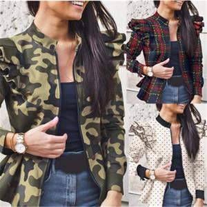 Arıların Tasarımcı Kadın Gevşek İnce Fermuar Dış Giyim Bayan fırfır Ceketler Coats Moda Trend Kasetli Uzun Kollu Hırka Bayan Kazak