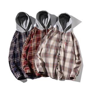 Lange Hülse der Männer Eindickung mit Kapuze Plaid Shirt warme Winter-Shirts Male Plus Size Übergrößen Dick Flanell Lässige Kleidung