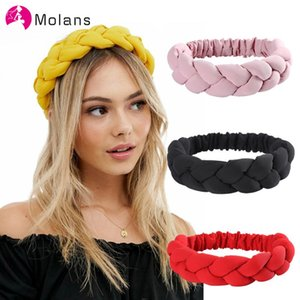 Molans Winter Braids Headband With Padded Plait Design In Mustard Braiding Solid Elastic Headbands for Female Turban Headwrap