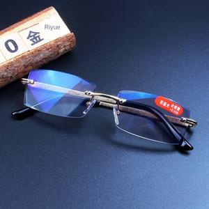 r8qUA بدون إطار جديد قراءة عصرية مكافحة الأزرق تقليم البصرية قصو البصر الشيخوخي نظارات مشهد إطار نظارات طويل النظر