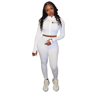 Women's Long Sleeve Designers Crop Zip Jacket Zipper Coats Hoodie Tops and Leggings Pants Two Piece Outfits Tracksuit Swimwear E22707