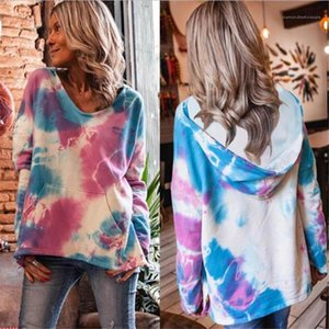 Fashion O Neck Long Sleeve Loose Hooded Sweatshirt Casual Autumn Women Clothing Tie Dyed Women Hoodies Pullover Tops