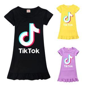 Tik Tok Dress For Big roupa da menina Crianças Verão Imprimir Cotton Ruffle Casual Túnica Kid Início Pijama Frock Vestido