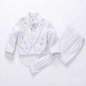 2019 fashion white black baby boys suit kids blazers boy suit for weddings prom formal spring autumn wedding dress boy 5pcs JsJv#