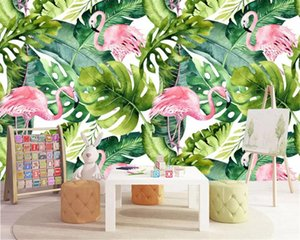 Modern fashion stereo silky wallpaper Nordic small fresh flamingo turtle back leaf background wall papers home decor