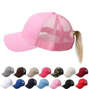 Solid Color хвостик Бейсболка дышащая сетка Cap Summer Casual Спортивные шапки Открытый ВС Hat DHA812