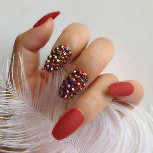 Press On Nails Bling Custom Full Rhinestones Decoration Design Coffin Matte False Nails Wine Red UV Gel Nail Tips 24pcs