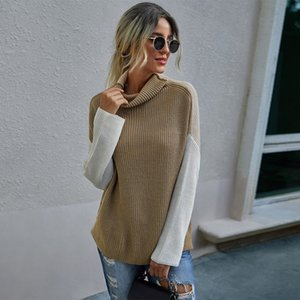 Women's Sweaters Women Autumn Winter Blouse Clothes Hit Color Wild High-Neck Comfortable Pullover Sweater Casual Coat