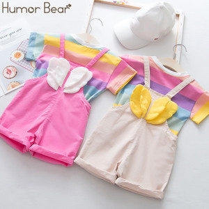 Humor Bear 2020 Summer New Children's Clothing Suit Korean Version Wing Short-sleeved+Strap Pants Infant Baby Girls Clothes Suit